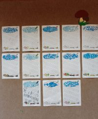 Deszczowa chmurka - wydzieranka papierem kolorowym