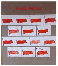 Flaga Polski malowana farbami.