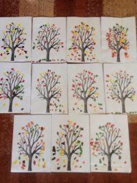 Jesienne drzewa- wyklejanie kawałkami kolorowego papieru