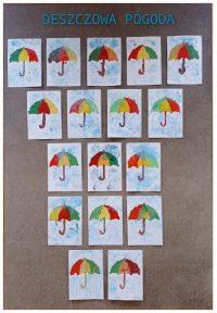Kolorowe parasole malowane farbami plakatowymi, krople deszczu wykonane poprzez odbijanie foli bąbelkowej namoczonej wfarbie.