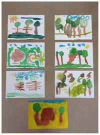 Las malowany farbami plakatowymi ipędzlem.