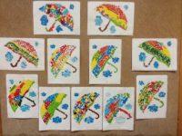 Parasolki- wydzieranka zkolorowego papieru