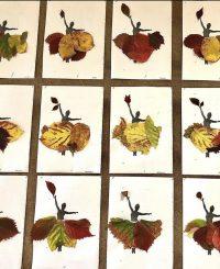 Suknia Pani Jesieni - wyklejanie liśćmi