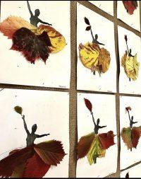 Suknia Pani Jesieni - wyklejanie liśćmi.