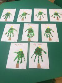 Merry Christmas - Kartki świąteczne uzyskane poprzez odcisk dłoni.