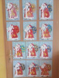 Mikołaj - malowany farbami plakatowymi, broda ielementy płaszcza wyklejane watą