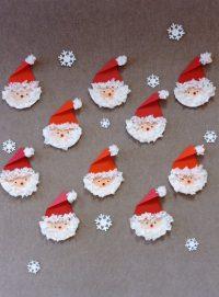 Mikołaj - praca wykonana zpapierowego talerzyka ,bibuły iczerwonego papieru.