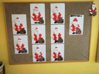 Św. Mikołaj – wydzieranka zpapieru kolorowego iwaty