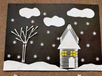 Zimowy krajobraz Praca grupowa zpatyczków douszu