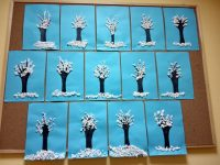 Zimowe drzewa - wykonanie zpapieru iserwetek