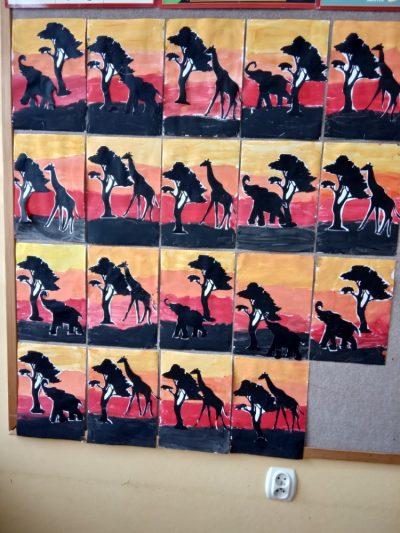 Zwierzęta Afryki malowanie farbami