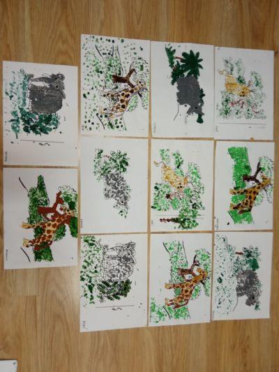 Zwierzęta Afryki mozaika punktowa farbami
