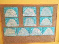Igloo – praca wykonana zkalki technicznej, naktórejzostały odbite kształty brył lodu zapomocą drewnianego klocka pomalowanego białą farbą plakatową, następnie całość przyklejona nakartkę koloru niebieskiego idomalowanie śniegu farbą koloru białego zapomocą pędzla