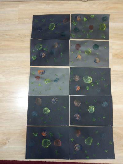 Układ słoneczny malowanie farbami