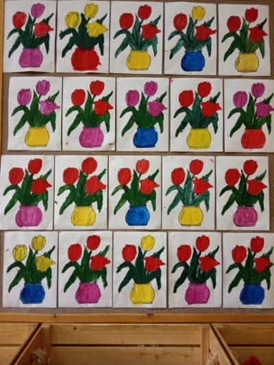 Bukiet tulipanów malowanie farbami