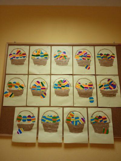 Koszyk zpisankami wycinanka zpapieru kolorowego ipapieru szarego