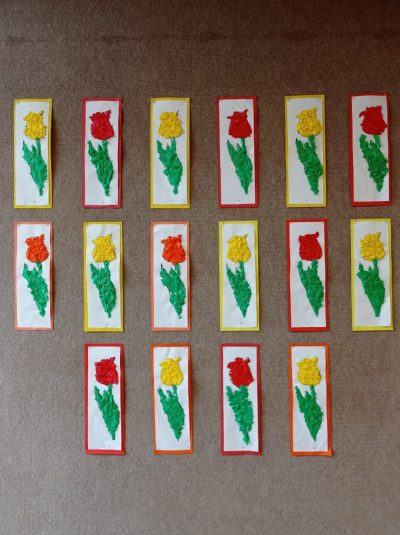 Tulipan - wyklejanie konturu gładką bibułą