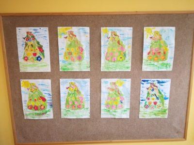 Pani Wiosna – malowanie konturu Pani Wiosny farbami plakatowymi iakwarelowymi.