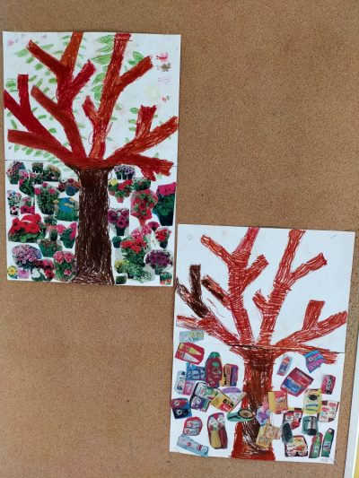 Drzewo smutne Drzewo wesołe Wycinanie inaklejanie odpowiednich elementów