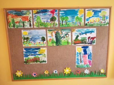 Wiosna – malowanie farbami plakatowymi.