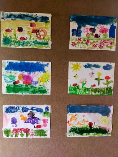 Majowa łąka-malowanie farbami plakatowymi nagazie