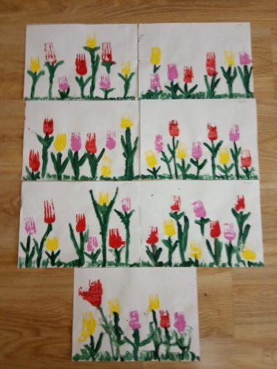 Tulipany - malowanie farbami zapomocą widelca