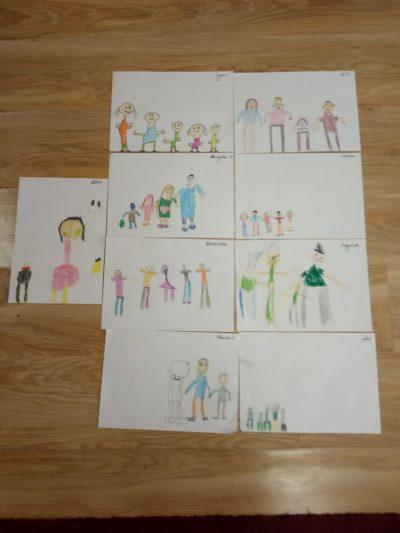 Moja rodzina - malowanie kredkami
