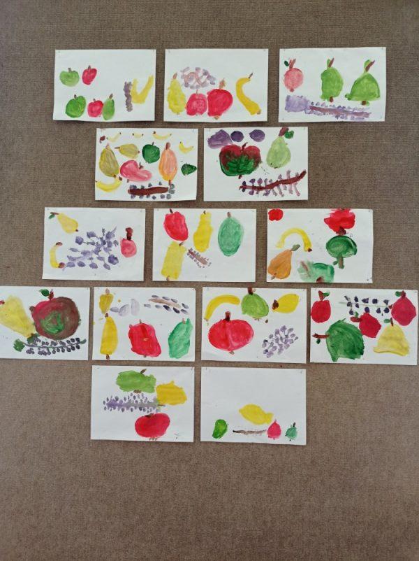 Owoce - malowanie farbami plakatowymi