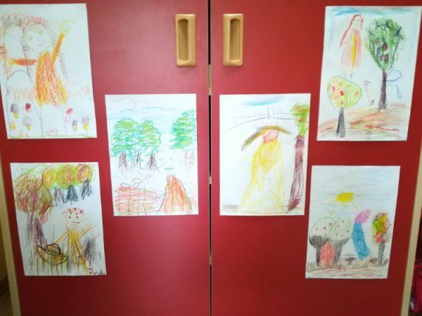 Pani Jesień - rysowanie kredkami świecowymi