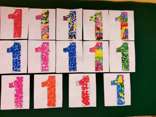 Cyfra 1- wydzierania zpapieru kolorowego