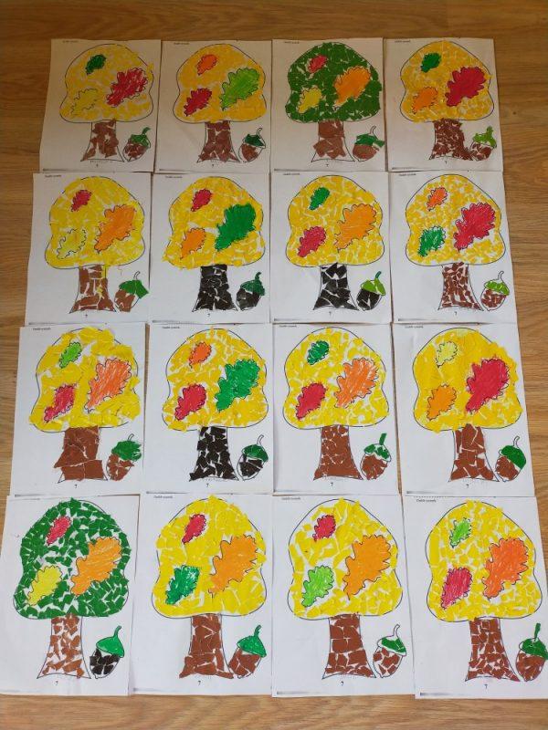 Jesienne drzewa- wydzieranka zpapieru kolorowego