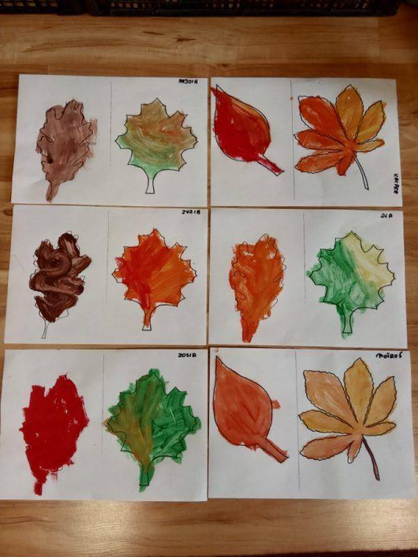 Jesienne liście malowanie farbami