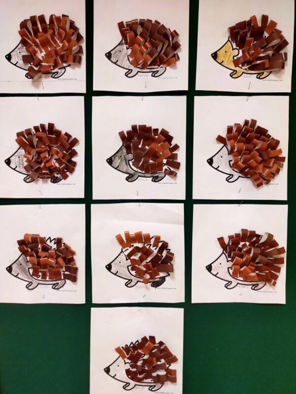 Jeż- praca zpaseczków papieru kolorowego