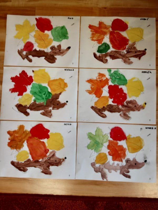 Jeżyk wliściach malowanie farbami