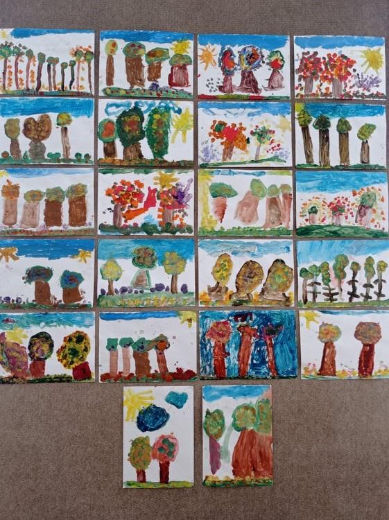 Las jesienią - malowanie farbami plakatowymi