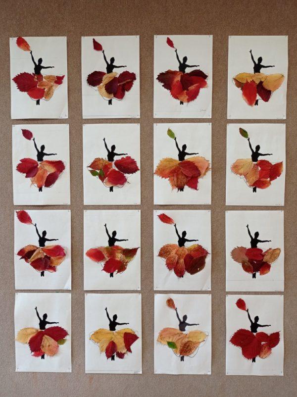 Pani Jesień- wyklejanie sukni Pani Jesieni kolorowymi liśćmi
