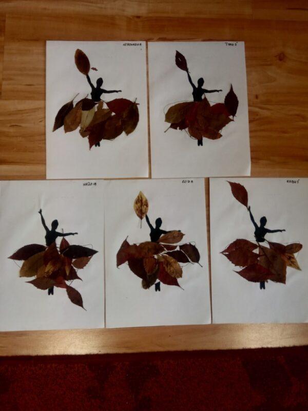 Pani Jesień wyklejanie zasuszonymi liśćmi