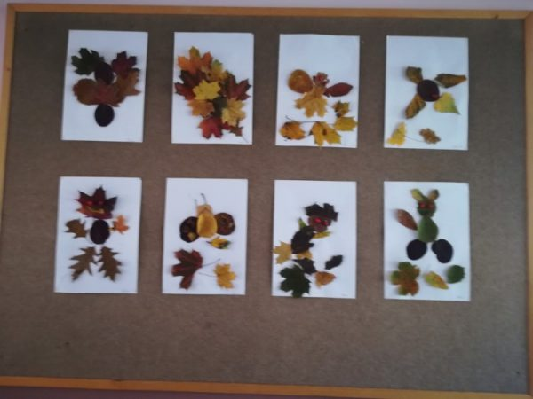 Postacie zliści - praca plastyczna wykonana zjesiennych kolorowych liści