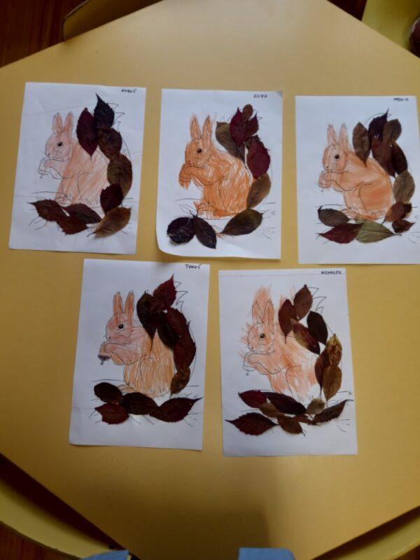 Wiewiórka malowanie kredkami doklejanie zasuszonych liści
